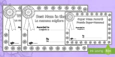 * NEW * Mother's Day Certificates (Colouring) English/Italian