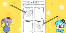 Circus Read and Draw Activity Sheet