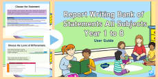 New Zealand Report Writing Bank of Statements Years 0 to 8 Guidance PowerPoint