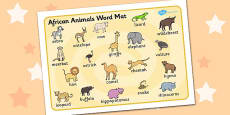 African Animals Word Mat