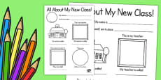 All About My New Class Activity Sheet