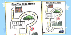 Find the Way Home Maze Activity Sheet