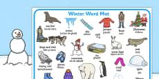 Winter Word Mat EAL Romanian Translation