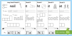 * NEW * Long Vowel Sound Writing Word Editable Activity Pack