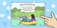 Row Row Row Your Boat Nursery Rhyme Display Poster