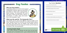 KS1 Guy Fawkes Differentiated Reading Comprehension Activity