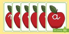 Manzanas rojas tarjetas de fonemas