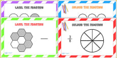 Colour and Label the Fractions Challenge Cards