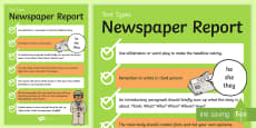 Text Types Guide Newspaper Report Display Poster