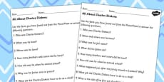 All About Charles Dickens Differentiated Comprehension Activity Sheets