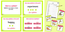 Splitting Words into Syllables Lesson Teaching Pack