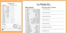 Spanish Date Writing Activity Sheet