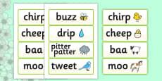 Spring Onomatopoeia Word Cards