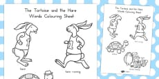 The Tortoise and the Hare Words Colouring Sheet (Australia)