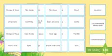 Easter Vocabulary Matching Cards Spanish