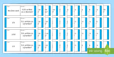 * NEW * Year 6 Converting Decimals and Fractions Loop Cards