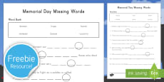 Memorial Day Missing Words Activity Sheet