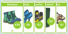 Shoe Shop Role Play Posters Gaeilge