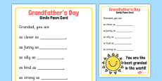 Grandfather's Day Simile Poem Card Template