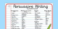 Persuasive Writing Word Mat Arabic Translation