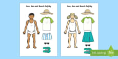 * NEW * Sun, Sea and Beach Safety Cut out Activity Sheet