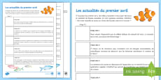 * NEW * April Fools' Day News Activity Sheet French