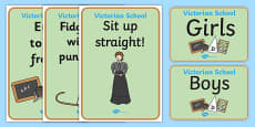 Victorian School Role Play Signs