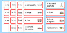 Transport Topic Word Cards French