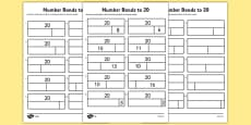 Bar Modelling Number Bonds to 20 Differentiated Activity Sheet Pack