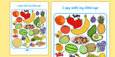 Fruit Themed I Spy With My Little Eye Activity Sheet