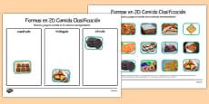 Food 2D Shape Sorting Activity Spanish