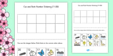 Spring Themed Cut and Stick Number Ordering Sheets 11-20