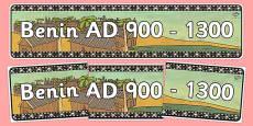 Benin AD 900-1300 Display Banner