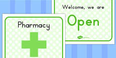 Pharmacy Role Play Open Sign (Australia)