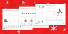Christmas Pencil Control Activity Sheets Arabic Translation