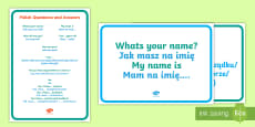 * NEW * Polish Questions and Answers A4 Display Poster - English/Polish