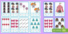 Fasching  Zählrahmen Puzzle: Zahlen ordnen