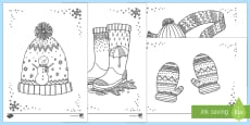 Winter Clothes Mindfulness Colouring Sheets