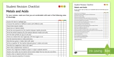 * NEW * Metals and Acids Student Revision Checklist