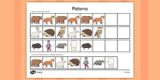 The Mitten Complete the Pattern Worksheets
