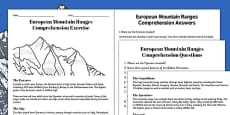 European Mountain Ranges Reading Comprehension Activity