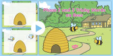 Phase 2 and 3 Tricky Words on Bees Coming Out of Hive PowerPoint