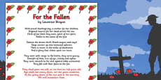 Remembrance Day For the Fallen Poem Sheet (A4)