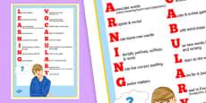 Apprendre le vocabulaire - Poster pour la salle de classe