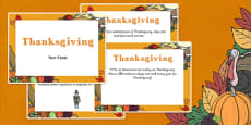 Amazing Thanksgiving Display Fact Cards
