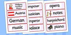 Wolfgang Amadeus Mozart Word Cards