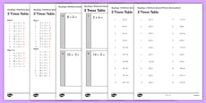 KS1 Arithmetic Content Practice Activity Sheet Pack Recalling the 2 Times Table