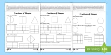 Year 2 Maths Fractions of Shapes Homework Activity Sheet