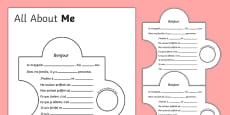 All About Me Display Jigsaw Activity - French