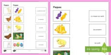* NEW * Easter Word and Picture Matching Activity Sheet French